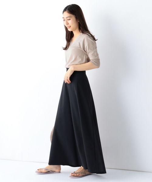 [BEAMS WOMEN] ATON / ウール キャラメルピケ マキシスカート