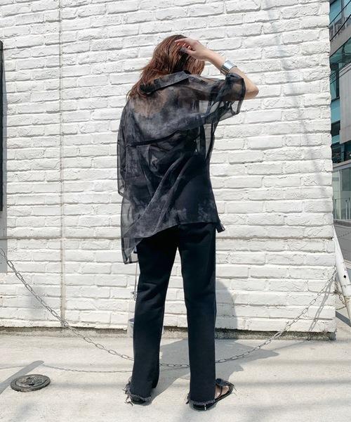 [WHO'S WHO gallery] シースルームラ染めパイピング半袖シャツ