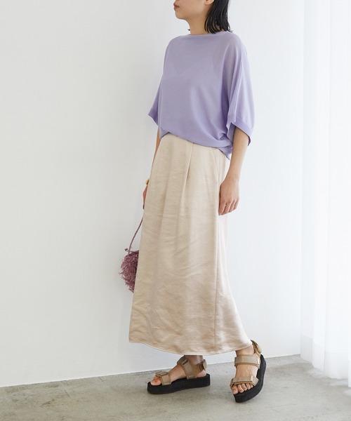 [ROPE'] 【店舗限定】サテンIラインマキシスカート