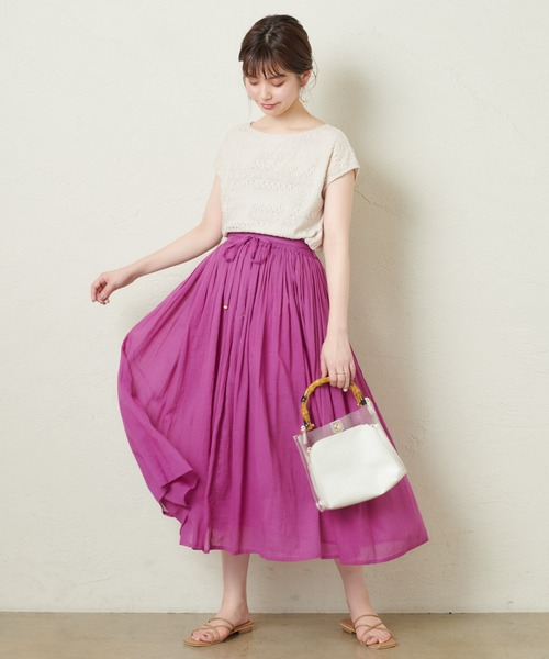 [natural couture] 綿ボイルたっぷりギャザースカート
