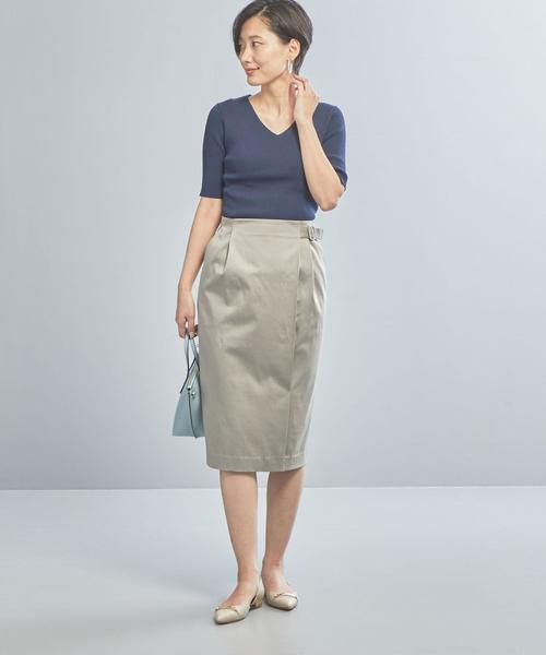 [green label relaxing] 【WORK TRIP OUTFITS】★WTO D リブ Vネック プルオーバー 5SL