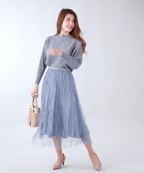 [BLUEEAST] ワッシャーチュールスカート