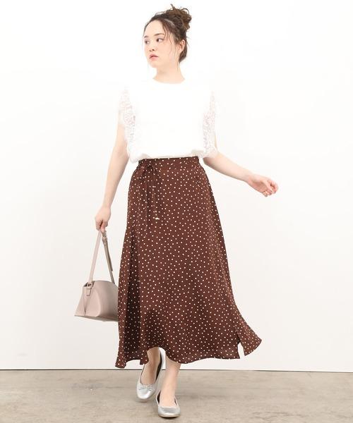[ViS] アソート柄ひもベルト付ロングスカート