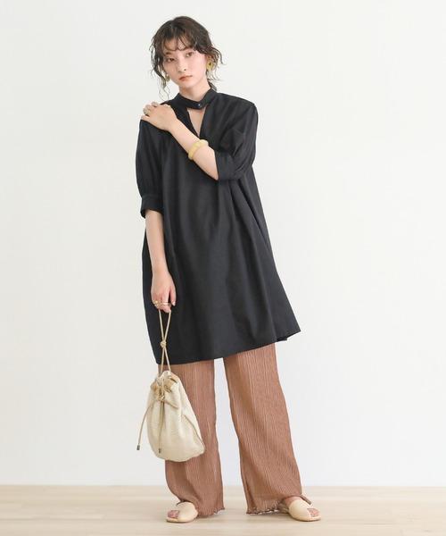 [select MOCA] 2020 S/S 2wayフロントピンタックチュニックシャツ/コットンルーズシルエットシャツブラウス