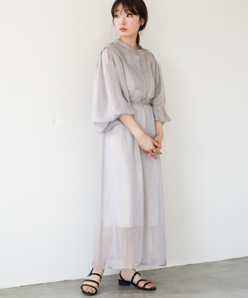 [Kastane] シャイニーシフォンボリューム袖ワンピース/シアー素材ワンピース