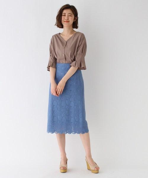 [AG by aquagirl] 【Lサイズあり/美人百花5月号掲載】シェルレースタイトスカート