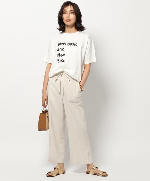 ロゴビッグTシャツ×セミクロップドパンツ