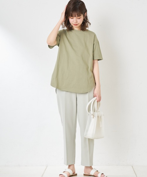 [natural couture] シャツテールゆるっとロゴT