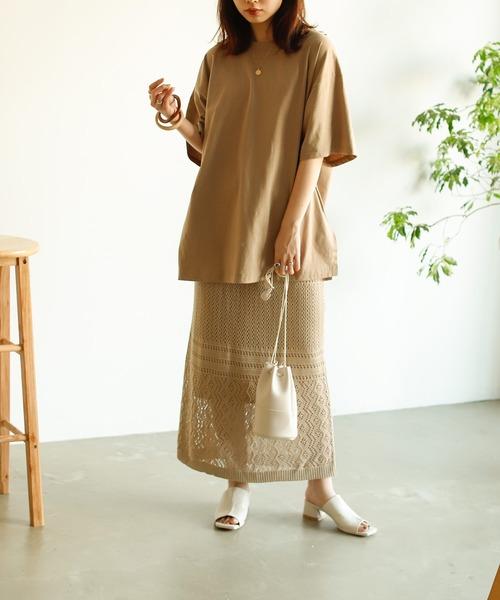[Auntie Rosa] 【VACANCY】透かし編みニットスカート