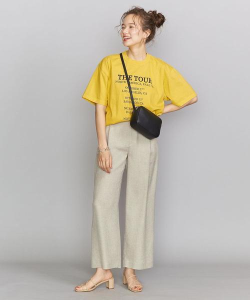 ファッションTシャツ×タックワイドパンツ