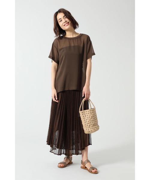 [ROSE BUD] メッシュプリーツスカート