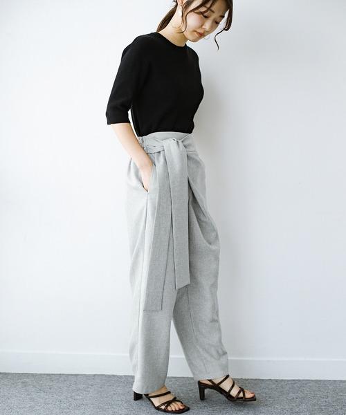 [haco!] パンツ派だけどきれいでいたい!を叶えてくれる 麻風素材のラップデザインパンツ
