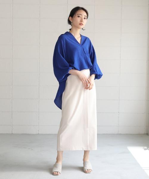[Bou Jeloud] 抜け衿ゆるカラーシャツ/シャツチュニック