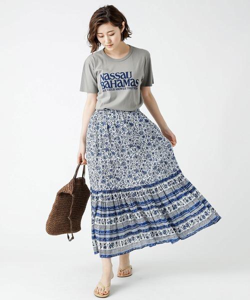 [RIVE DROITE] ハンドブロックプリントスカート
