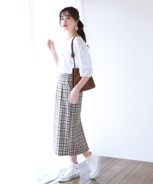 [BLUEEAST] チェック柄ロングタイトスカート