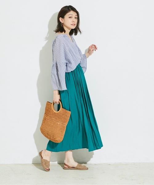 [A.I.C] 【WEB限定】微光沢プリーツギャザー フレアスカート