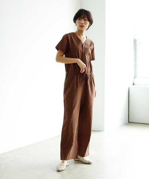 [Birthdayroom] 綿麻コンビネゾン/オールインワン/サロペット