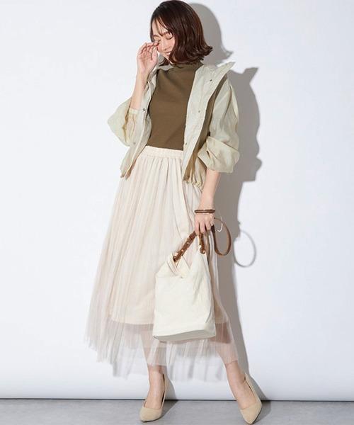[STYLEBLOCK] シアー素材ダブルチュールプリーツスカート
