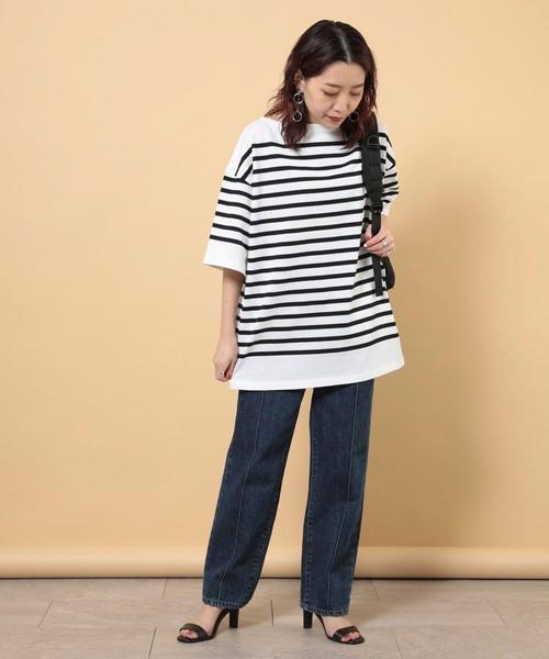 [FREAK'S STORE] BIGバスクボーダー半袖Tシャツ(チュニック、ボーダーTシャツ)