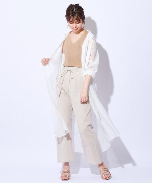 [natural couture] 綿麻共リボンワイドパンツ