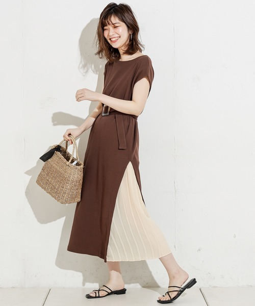 [natural couture] 【WEB限定】しっかりリブサイドプリーツワンピ