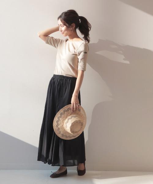 [IENA] コットンボイルフレアロングスカート【手洗い可能/ウエストゴム】◆