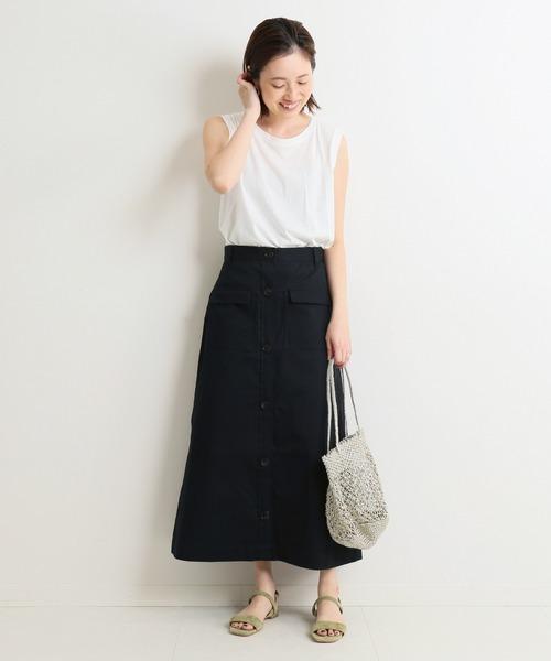 フロントボタン&ポケットスカート