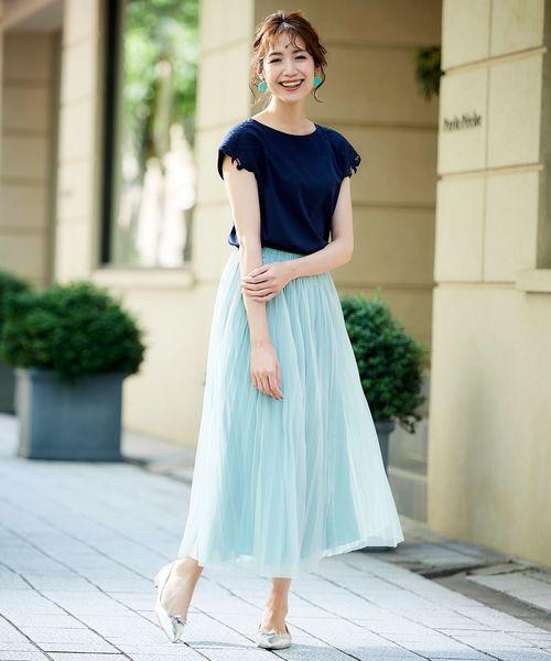 [Perle Peche] チュール2WAYプリーツスカート