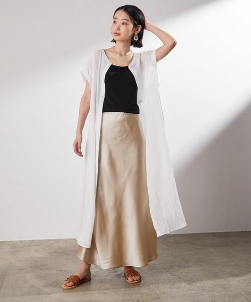 シャツワンピース×マーメイドスカート