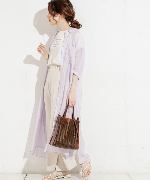 [natural couture] シアーロングシャツワンピース