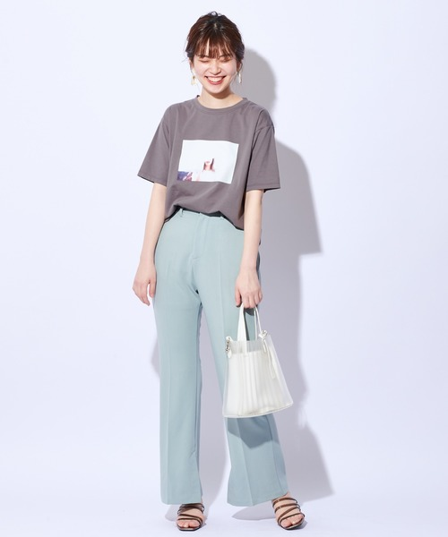 [natural couture] インサイドスリットカットパンツ