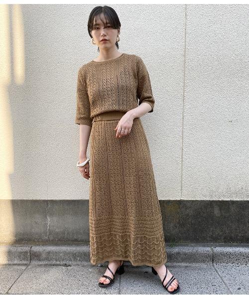 [ViS] 【店舗限定】【セットアップ対応】透かし編みニットスカート