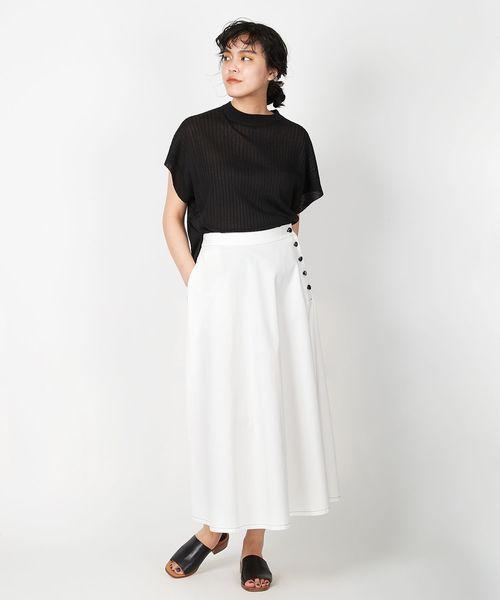 [LA MARINE FRANCAISE] デニム脇ボタンフレアスカート