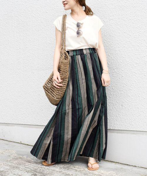 [SHIPS for women] 【別注】UHURU ストライプスカート◆