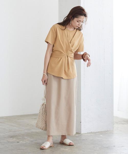 [titivate] ツイストリボンデザイン半袖Tシャツ