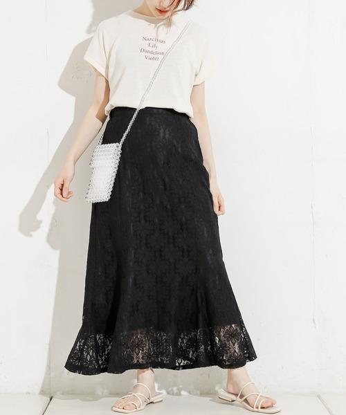 [natural couture] フラワーレースマーメイドスカート