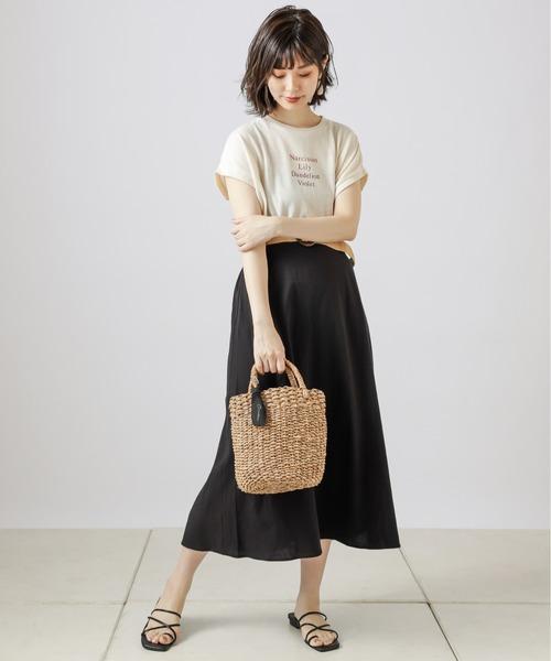 [natural couture] ラフィアベルト付きフレアスカート