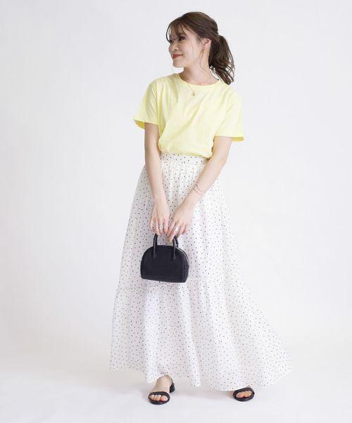 オーガニックコットンTシャツ×ドット柄スカート