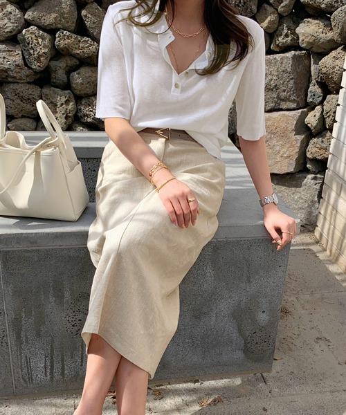 スカートできれいめな白ポロシャツコーデ