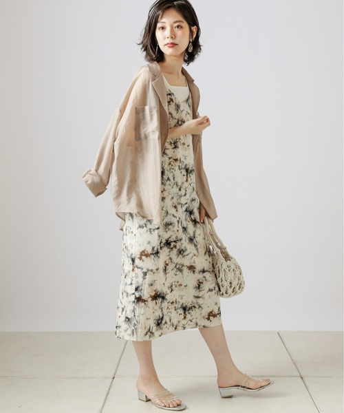 [natural couture] 【WEB限定】シアー開襟シャツ+リブタンクSET