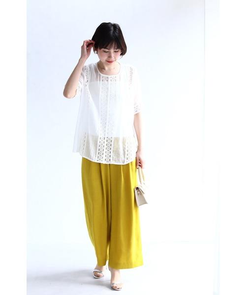 [FRENCH PAVE] 連なる花レースのシアーなシャツトップス