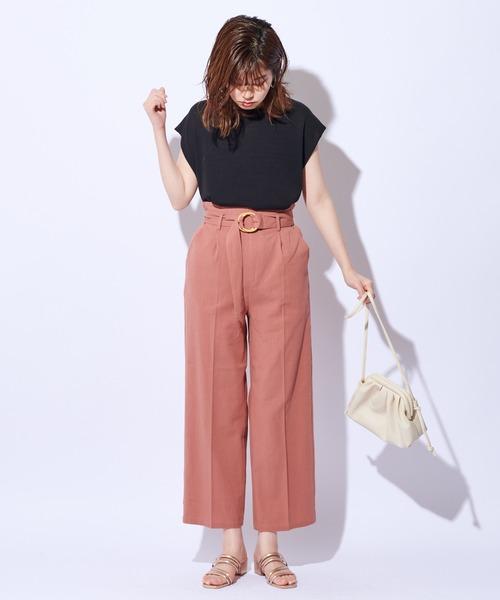[natural couture] バンブーバックルベルトワイドパンツ