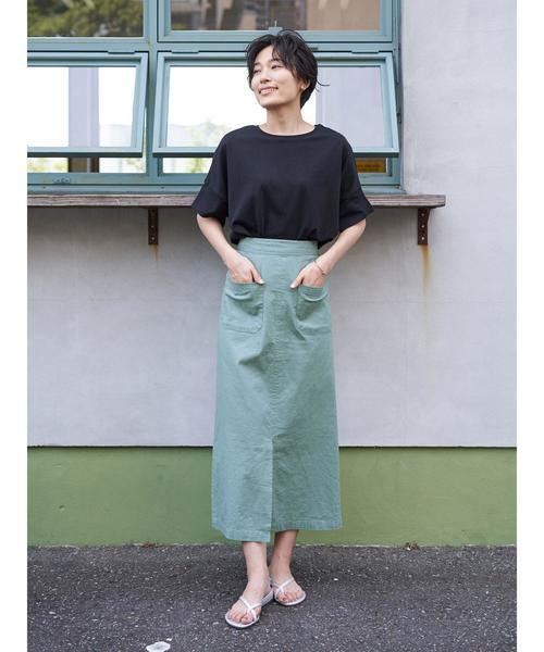 [AMERICAN HOLIC] Wポケットタイトロングスカート