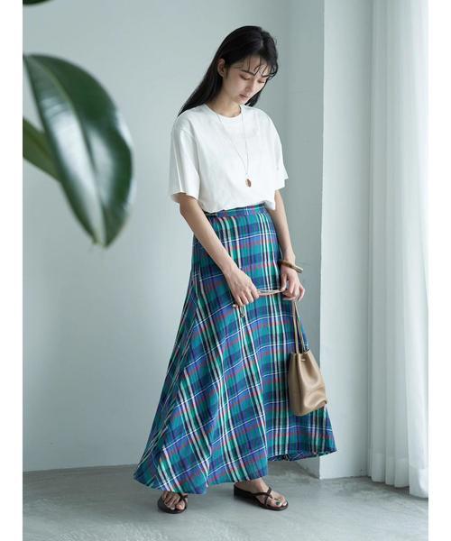 [CRAFT STANDARD BOUTIQUE] 【2020SS】リネンブレンド切り替えマーメイドスカート○