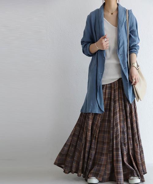[antiqua] 大人女子が惚れるたっぷりボリューム。チェック柄ロングスカート