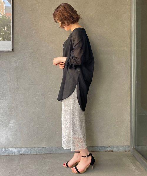 シフォンシアーシャツ×レーススカート