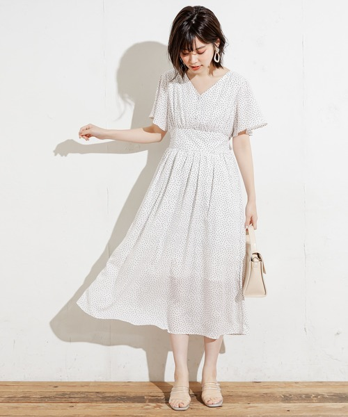 [natural couture] 【WEB限定】Vネックフレア袖ハイウエストワンピース