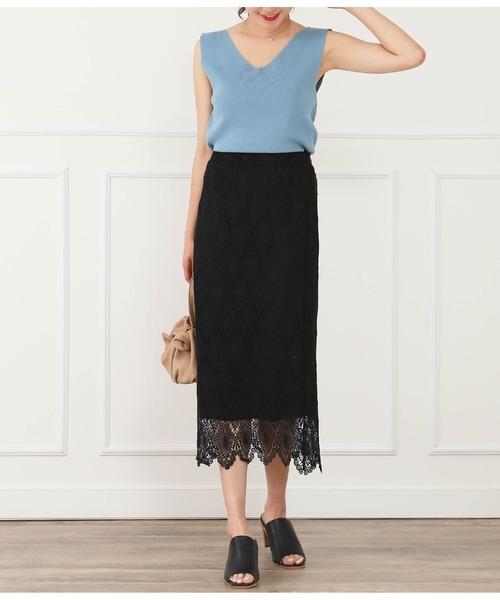 [CHILLE] ウエストゴム総レースタイトスカート