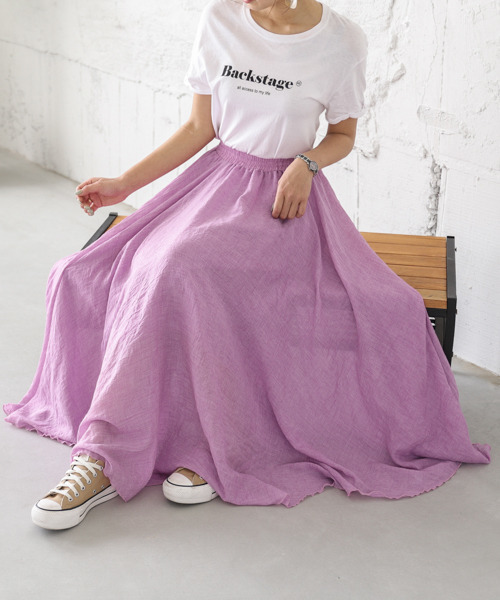 [SUGAR BISKET] リネンマキシ丈スカート