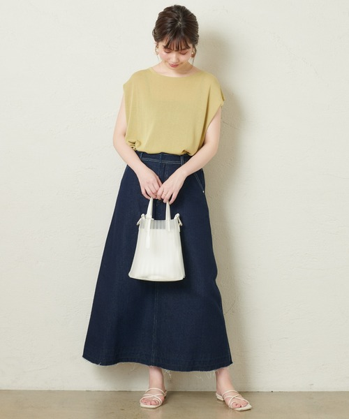 [natural couture] 【WEB限定】デニムロングフレアスカート